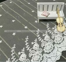 """White Flower Embroided Lace Fabric Trim Tulle Bridal Wedding 13.7"""" (35cm)"""