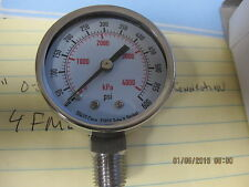 "2"" Dial 600 PSI Stainless Steel Dual-Scale Pressure Gauge ¼"" NPT Side Mount"