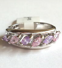 Silver Amethyst Tourmaline Cocktail Ring Pink Purple Cubic Zirconia Size 6 USA