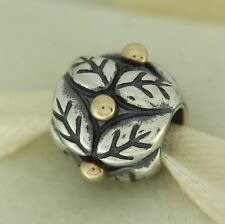 Authentic Pandora 790499 Holly Leaves 14K Gold & Sterling Silver Bead Charm