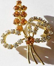 broche bijou vintage couleur or cristaux diamant citrine déco floral * 3610