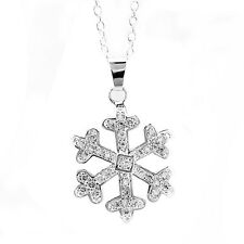 Stylish & Elegant Silver Winter Snowflake Pendant Necklace Christmas Gift N290