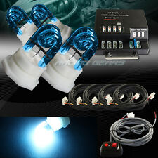 120W 4-HID BLUE BULBS HIDE A WAY EMERGENCY WARNING FLASH STROBE LIGHT SYSTEM KIT