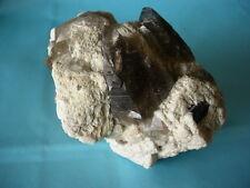 smokey quartz specimen with black tourmaline and mica