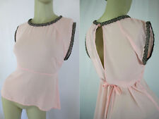 +Moon Collection Sheer Pink Summer Beads neckline Blouse Open back bow Size S