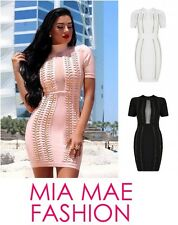 JANE CELEBRITY FASHION STYLE CIRCLE METAL SHORT SLEEVE BODYCON  BANDAGE DRESS