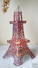 ROYAL PARIS EIFFEL TOWER GLOWING PINK CRYSTALS SPARKLING TABLE ACCENT LAMP GIFT