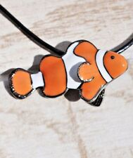 "CLOWN FISH PENDANT Necklace by Big Blue 18"" Black Leather Cord Enamel - Gift Box"