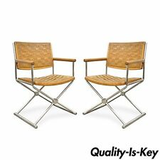 Vtg Pair Mid Century Modern Woven Brown Leather Chrome Directors Lounge Chairs