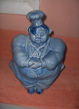 Vintage 1940's Red Wing Pottery Blue Chef Pierre Cookie Jar RARE
