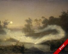 DANCING FARIES IN MISTS UPON THE LAKE POND PAINTING ART REAL CANVAS PRINT