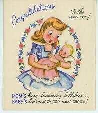 VINTAGE NEW MOM BABY GIRL BOTTLE CLOTHES LINE WASHING DIAPERS CARD OLD ART PRINT