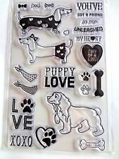INKADINKADO Clear Rubber Stamps  DOG LOVE, HEARTS VALENTINES DAY 23 pc