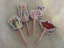 Peter Rabbit Cake Picks / Flags Party Cupcake Decorations X 12