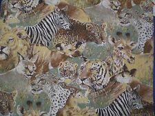 Vintage LARGE LION,TIGER,CHEETAH,ZEBRA,AFRICAN ANIMAL Fabric (60cm x 60cm)