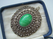 ABSOLUTELY GORGEOUS VINTAGE LARGE STERLING SILVER GREEN LARIMAR PENDANT RARE