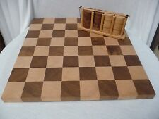 "Wooden Checker Board (14.75"" Square) and 24 Checkers with Holder (25+ yrs old)"