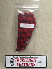 Trueflight 5 inch Feathers Right Wing Shield Cut Dozen Pack Red Barred