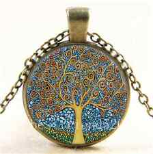 Vintage klimt tree of life Cabochon Glass Bronze Chain Pendant  Necklace