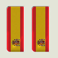 2x Spain Full Flag - Gel Domed Number Plate Badges/Decals 107x42mm