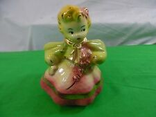 Vintage Pottery Planter Girl Figurine ceramic