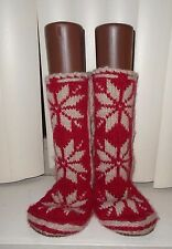 Woolrich Red Handknitted Chalet Slippers Slippersocks S 6/7 NWOT