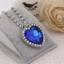 New Large Blue Crystal White Gold Plated Heart of the OCEAN Titanic Necklace SD