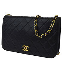 Auth CHANEL CC Matelasse Quilted Chain Shoulder Bag Leather Black Vintage 31Z129