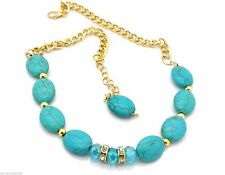"""New Plus Size Anklet Women Ankle Bracelet Howlite Gold Plated 10-15"""""""