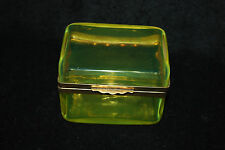 FRENCH VICTORIAN YELLOW GREEN DRESSER OR JEWEL BOX WITH BRASS HARDWARE C1900