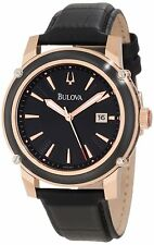 BULOVA DRESS BLACK DIAL DATE TWO-TONE BLACK LEATHER STRAP MEN'S WATCH 98B161 NEW