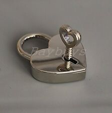2 PCS Personalised Polished Silver Chrome Love Lock Heart Padlock with Key