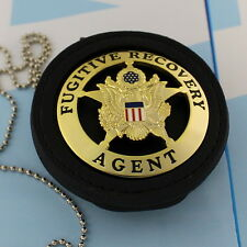 Fugitive Recovery Agent Badge Leather Holder Belt Clip  Gold Plating ROUND STAR