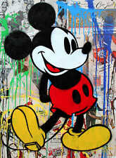 Mr Brainwash Mickey Mouse Bansky Abstract HUGE Oil Painting on Canvas 24x32""