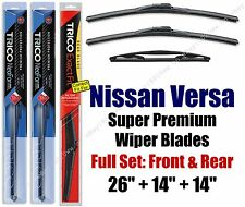Top-of-the-line Wipers 3pk Front & Rear fit 2007-2012 Nissan Versa 16260/140/14D
