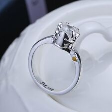 fashion silver Zircon crystal flower charm ring for famliy mom's gift jewerly