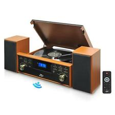 New Bluetooth Turntable Vintage Style & 2 Speaker Vinyl/MP3 Recording Wood