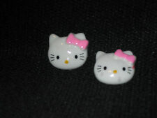 2 Pcs Hello Kitty Bow in Pink Resin Flatback Scrapbooking Hair Bow Crafts