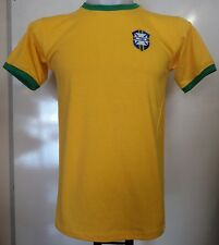 BRAZIL YELLOW RETRO FOOTBALL TEE-SHIRT ADULTS SIZE XXL BRAND NEW
