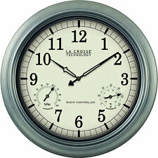 La Crosse 18 INCH Outdoor Analog Atomic Wall Clock Silver New Free US Shipping