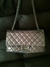 Authentic Chanel Dark Grey Argent Silver Reissue 227 Maxi Classic Flap Bag $6000