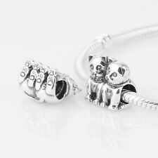 TWO CAT KITTIES TOGETHER PERFECT PAIR  Sterling Silver European Charm Bead