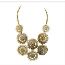 Circle Coin Gold Bold Egyptian Chain Chunky Collar Metal Bib Metal Necklace