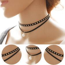 Stylish Women Double Layer Alloy Pearl Choker Chunky Bib Statment Necklace Gift