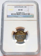 1878 Straits Settlements Ten Cents NGC XF 45 SCARCE Victoria British Crown Coin