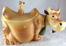 MCCOY POTTERY BROWN COW WITH CAT ON ITS BACK COUNTRY FARM THEME COOKIE JAR