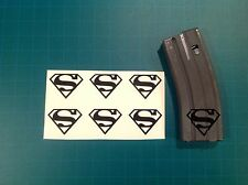 AR Magazine Sticker 6 Pack, SUPERMAN SYMBOL, AR 15, AK, GREY!