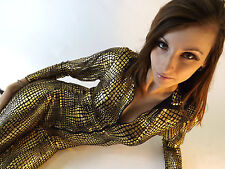 New Jumpsuit Black & Gold Ladies Sexy Celeb  ZipUp Cat Woman Catsuit 8 10 12