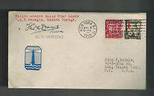 1932 New York USA RMS Georgio Maiden Voyage Ship Cover to USA
