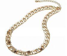 Damen Edelstahl Kristall Panzer Collier Gold 41 cm Tennis Gold Gala Kette Strass